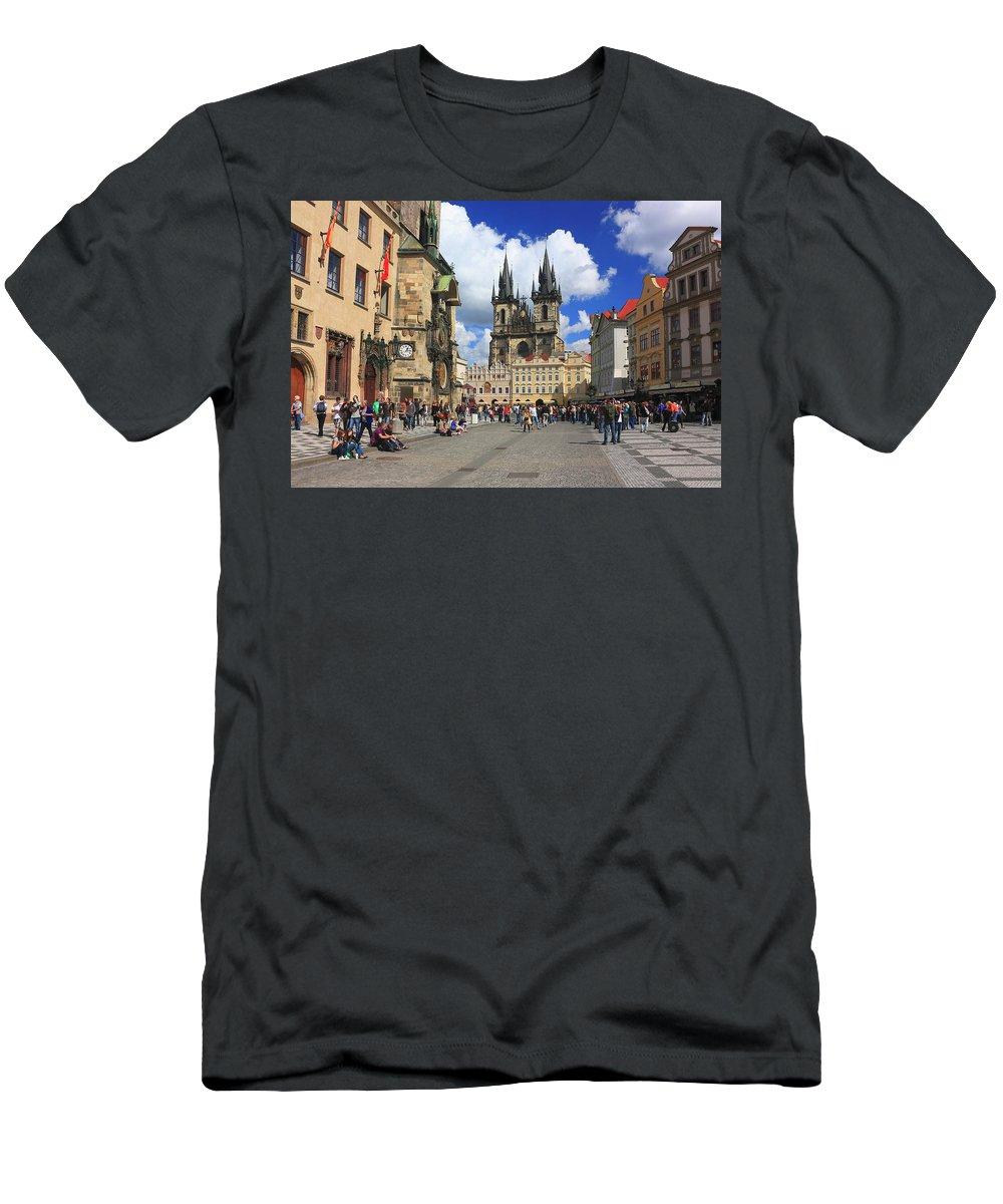 Architecture Men's T-Shirt (Athletic Fit) featuring the photograph Old Town Square Prague Czech Republic by Ivan Pendjakov