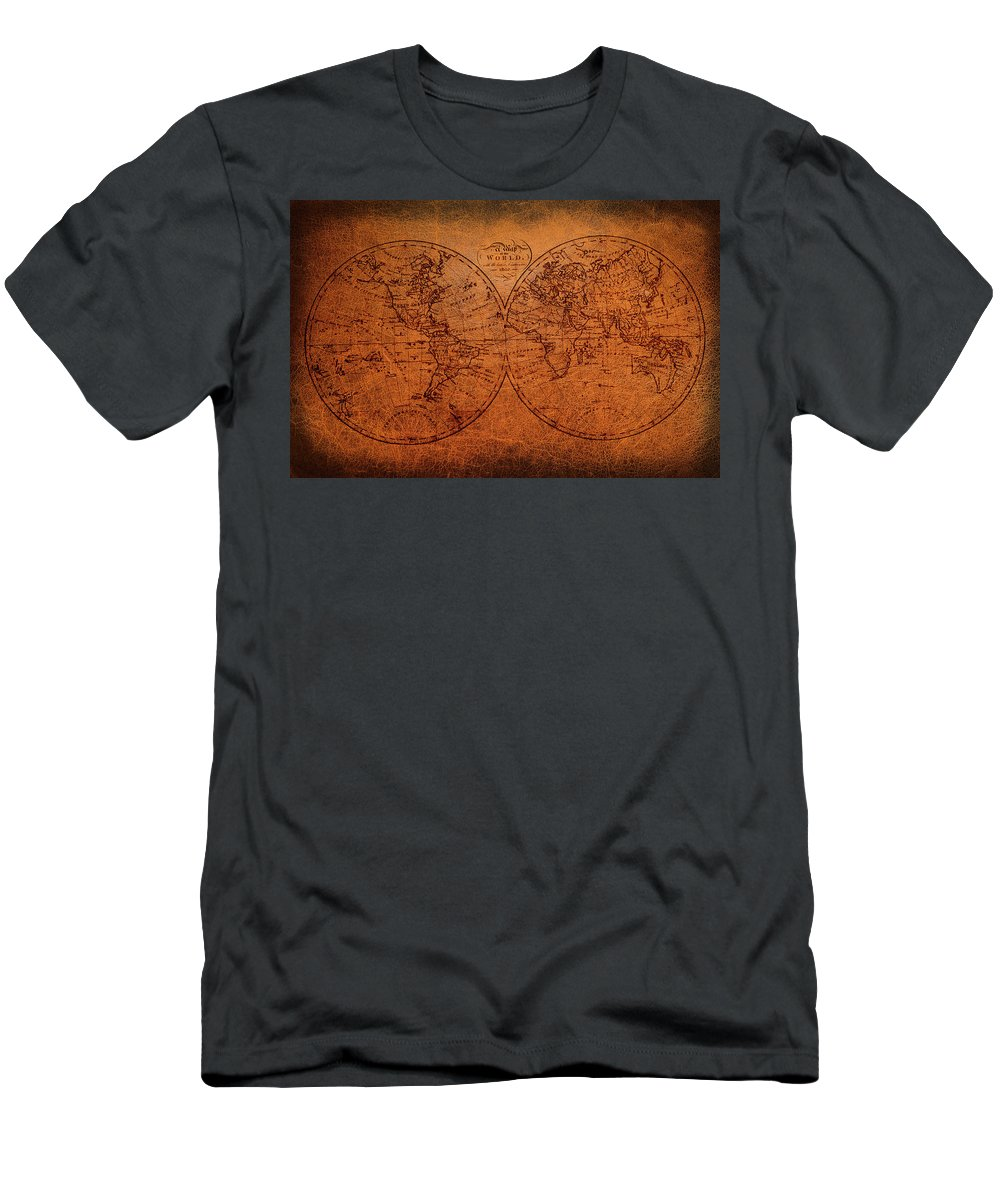 Old World Map T-Shirt featuring the mixed media Old World Map by Trevor Slauenwhite