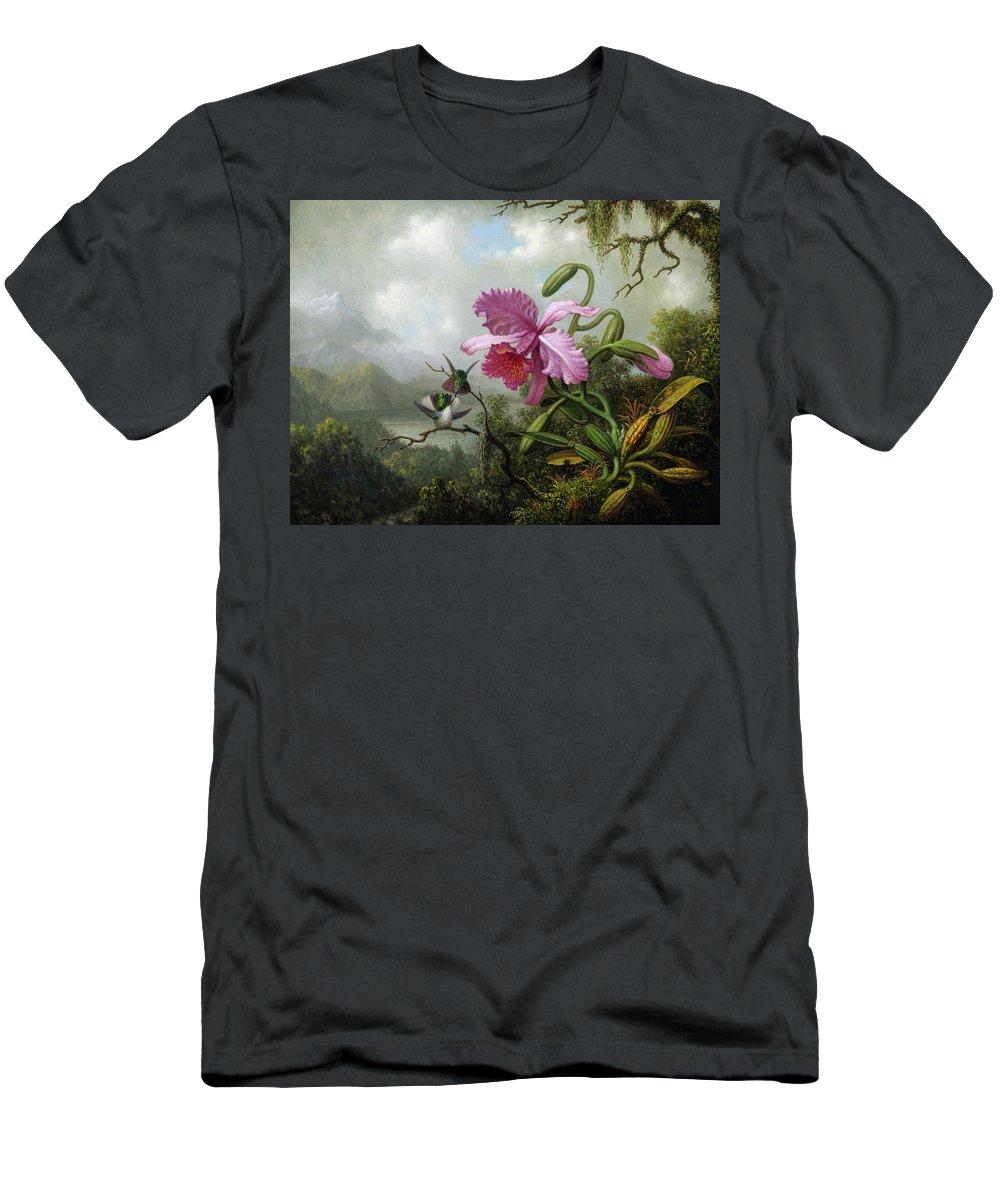 Martin Johnson Heade T-Shirt featuring the painting Orchid And Hummingbirds Near A Mountain Lake, 1890 by Martin Johnson Heade