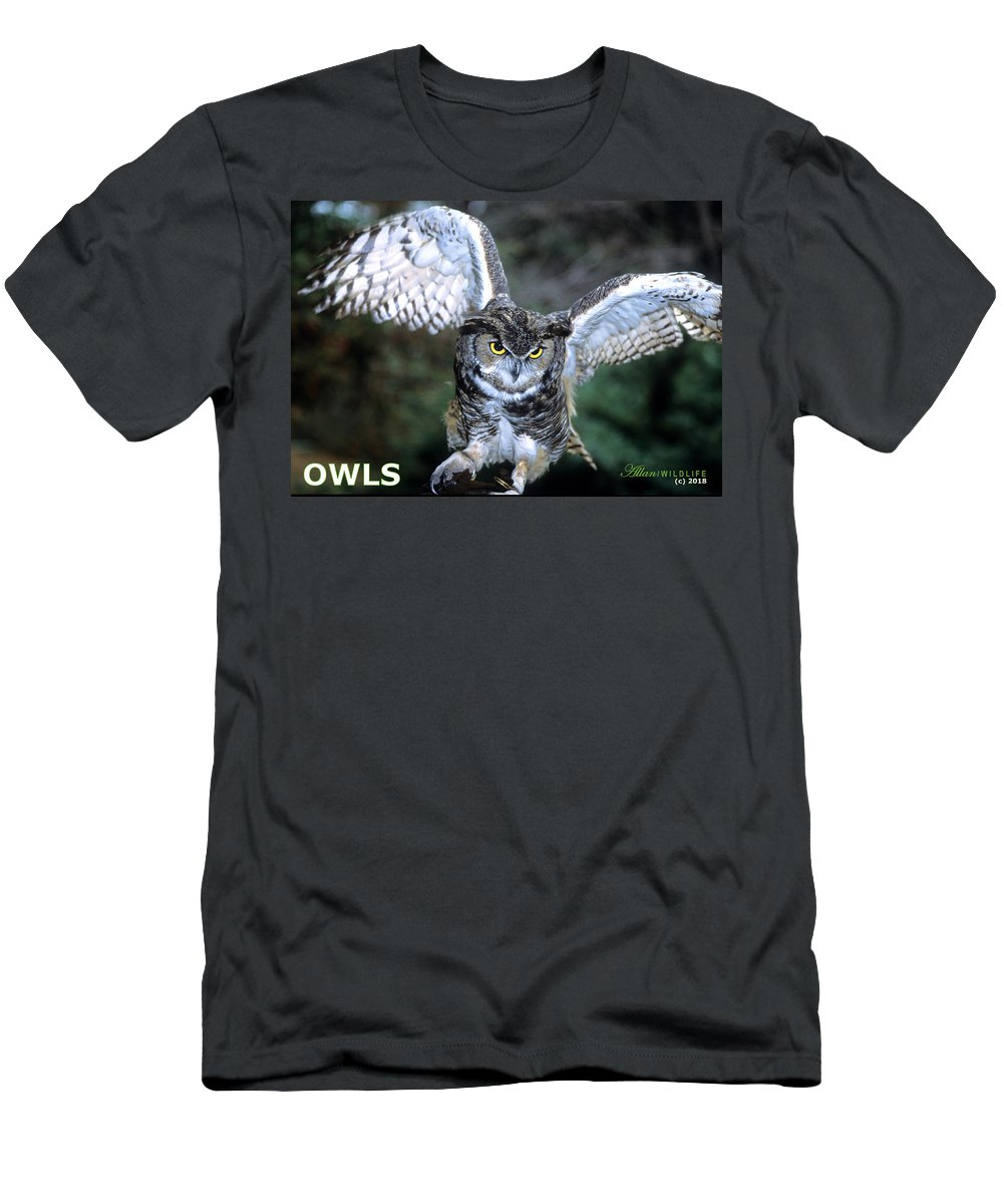 Owls Men's T-Shirt (Athletic Fit) featuring the photograph Owls Mascot 2 by Larry Allan