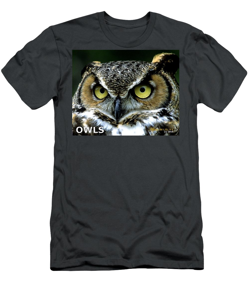Owls Men's T-Shirt (Athletic Fit) featuring the photograph Owls Mascot 5 by Larry Allan