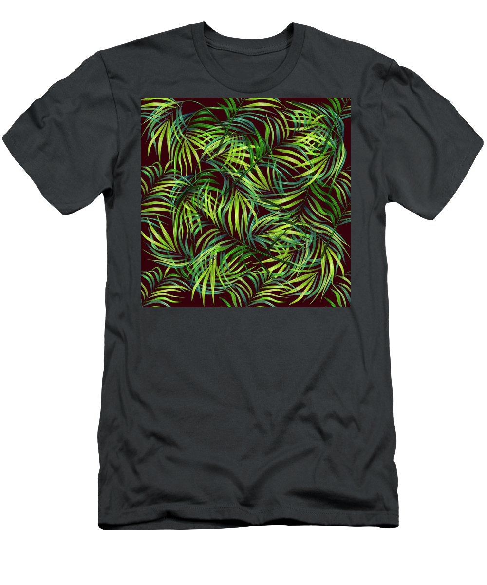 Palm T-Shirt featuring the mixed media Palm Leaf Pattern 2 - Tropical Leaf Pattern - Green, Black - Tropical, Botanical Pattern Design by Studio Grafiikka