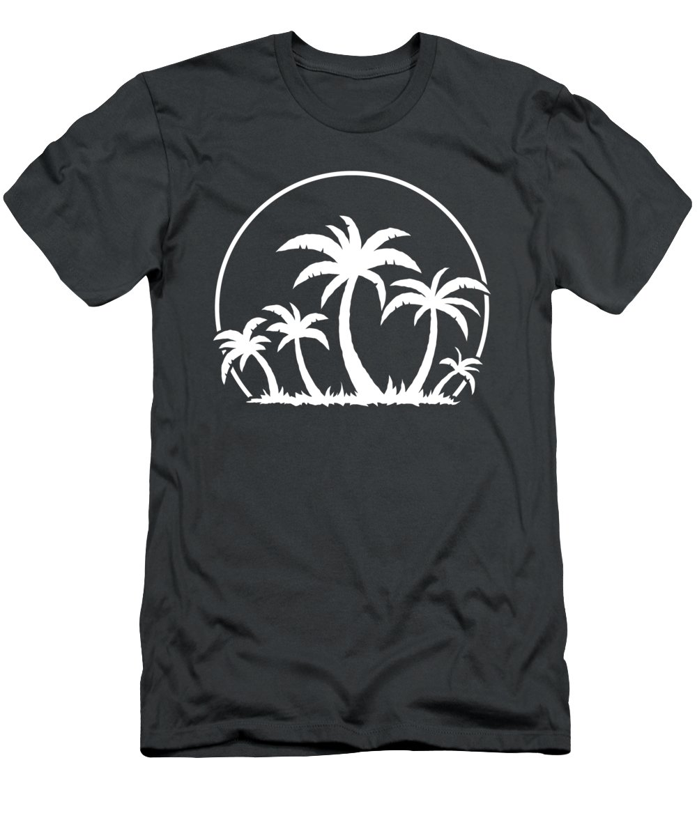 Beach T-Shirt featuring the digital art Palm Trees And Sunset in White by John Schwegel