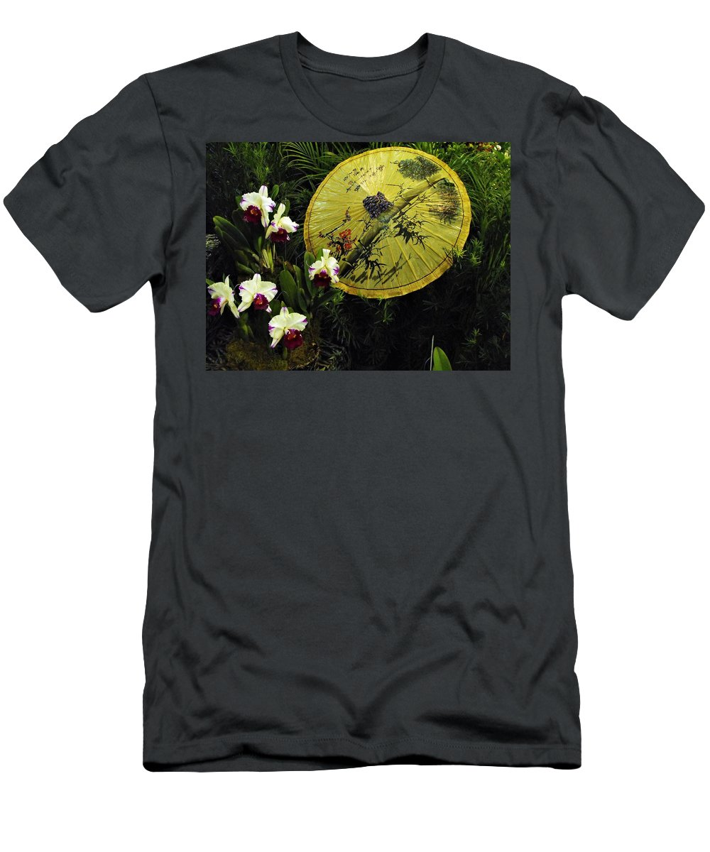 Orchid Men's T-Shirt (Athletic Fit) featuring the photograph Parasol Among The Orchids by William Bracht