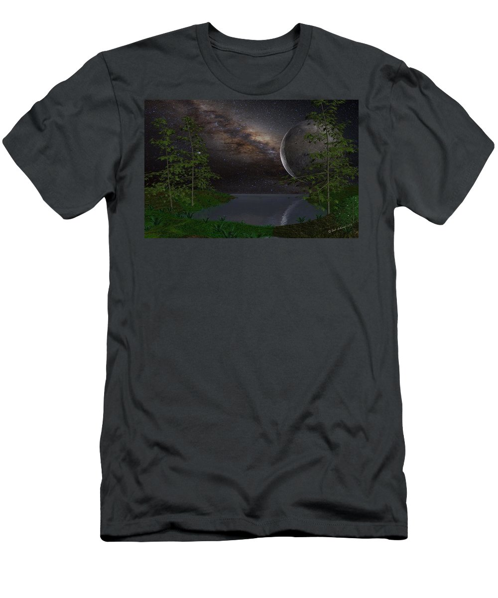 Scifi T-Shirt featuring the digital art Peaceful Night on a Distant Planet by Bob Shimer