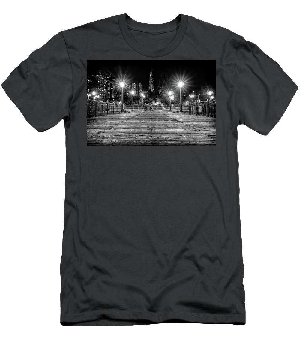 Pier 7 Men's T-Shirt (Athletic Fit) featuring the photograph Pier 7 In Black And White by Kristen Wilkinson