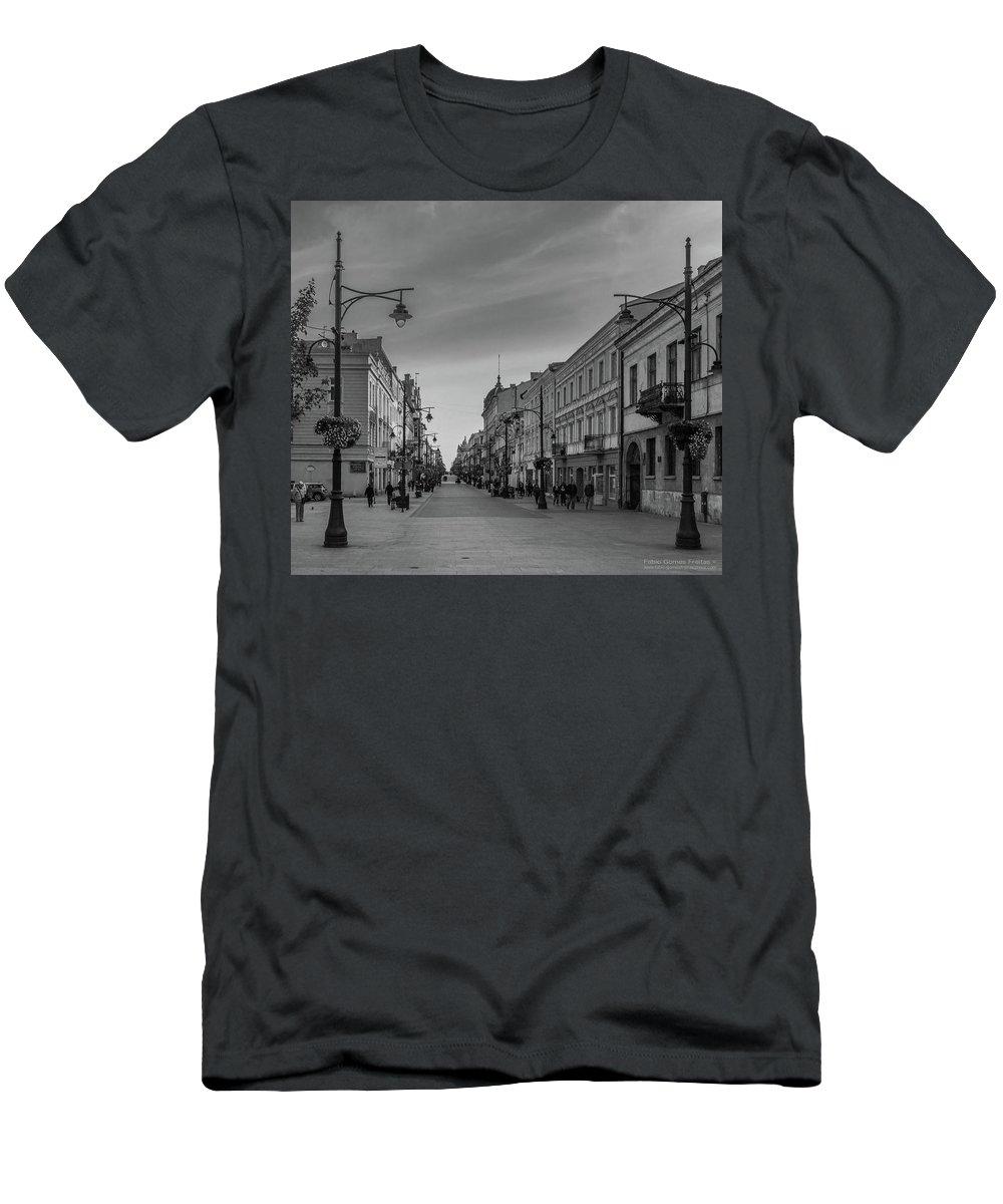 Europe Men's T-Shirt (Athletic Fit) featuring the photograph Piotrkowska Street by Fabio Gomes Freitas
