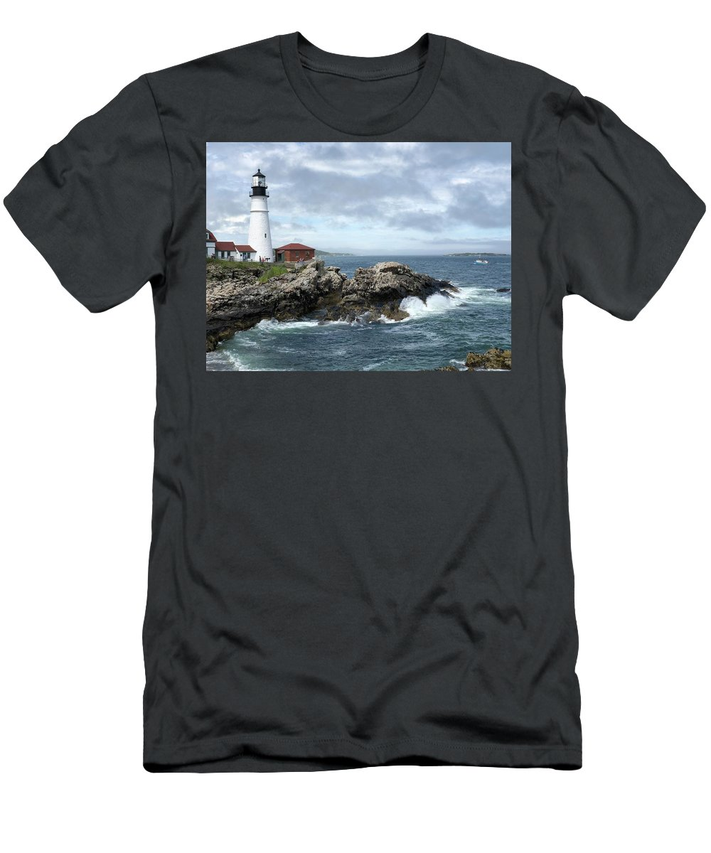 Maine Men's T-Shirt (Athletic Fit) featuring the photograph Portland Head Light House by Dick Goodman