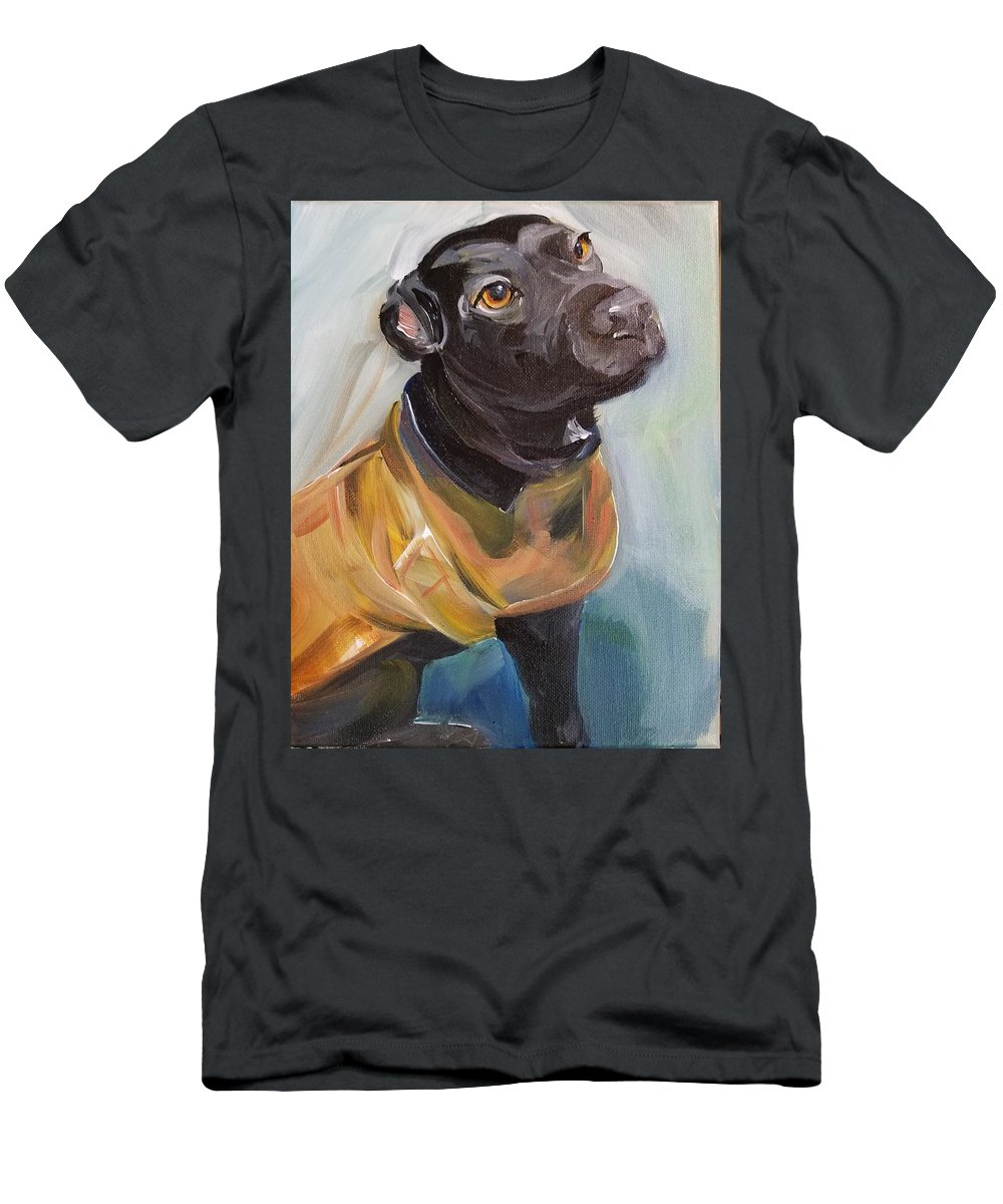 Dog Men's T-Shirt (Athletic Fit) featuring the painting Pretty Girl In Carhartt by Leah Keilman