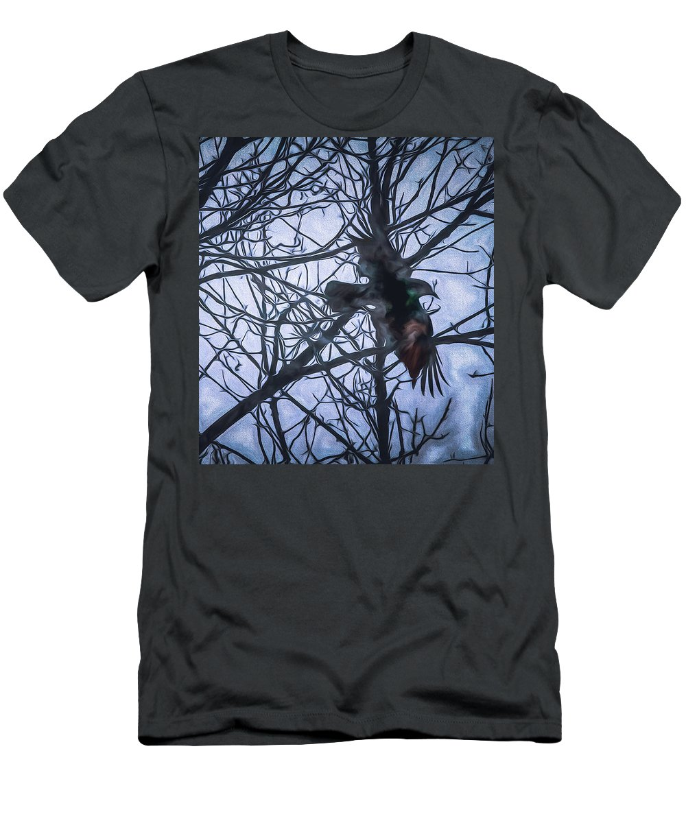 Raven Men's T-Shirt (Athletic Fit) featuring the painting Raven by Bob Orsillo
