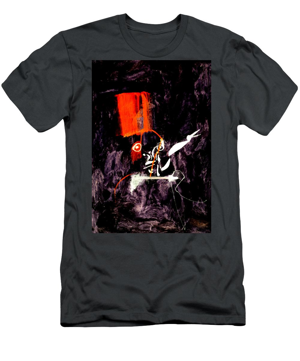 Red Room Men's T-Shirt (Athletic Fit) featuring the digital art Red Room Zoom by Artist Dot