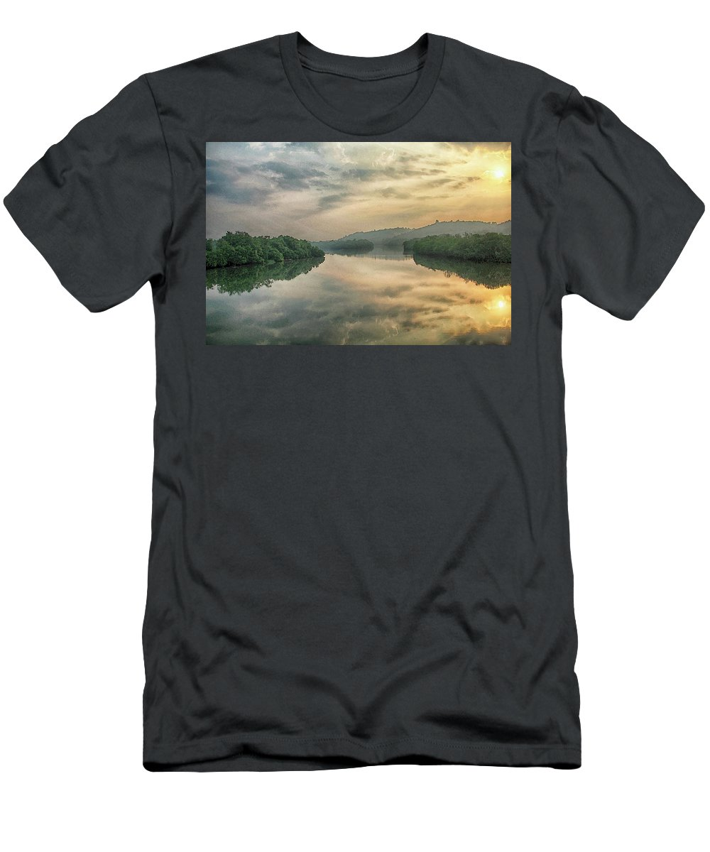 Reflections T-Shirt featuring the digital art Reflections in Water by Sandeep Gangadharan
