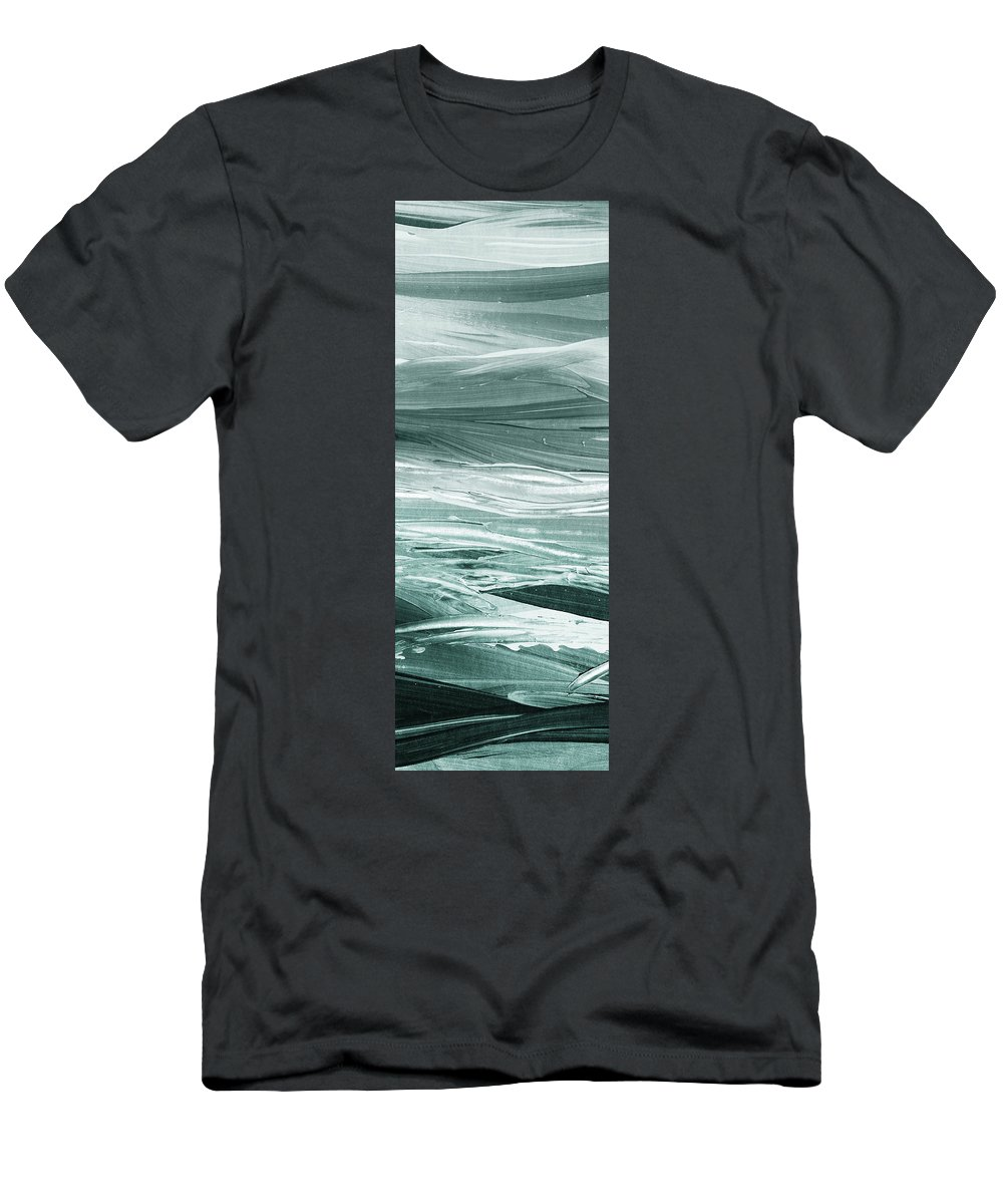 Gray T-Shirt featuring the painting Relaxing Gray Abstract Meditative Lines I by Irina Sztukowski