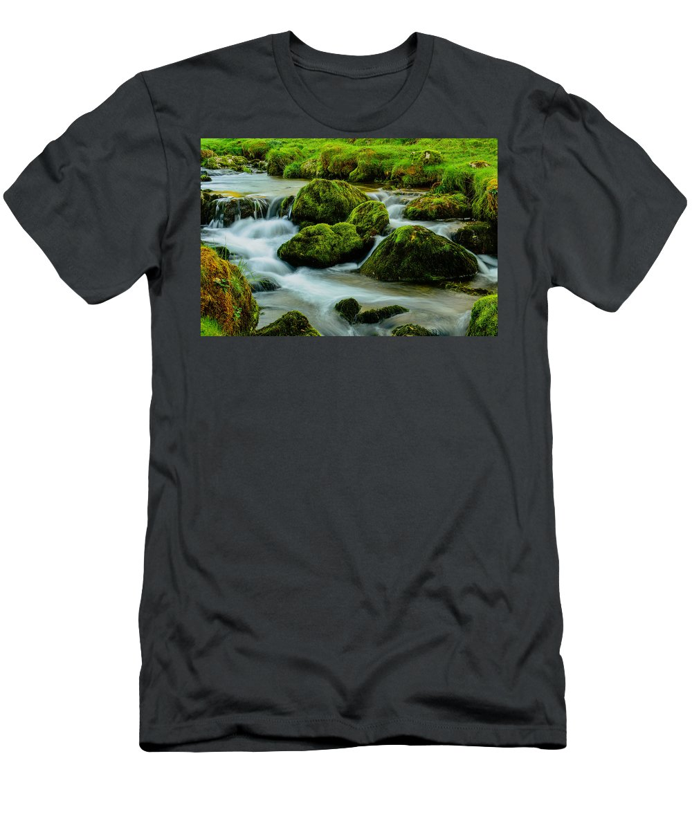 Rovks Men's T-Shirt (Athletic Fit) featuring the photograph Rock Fall by Daniel McNamara