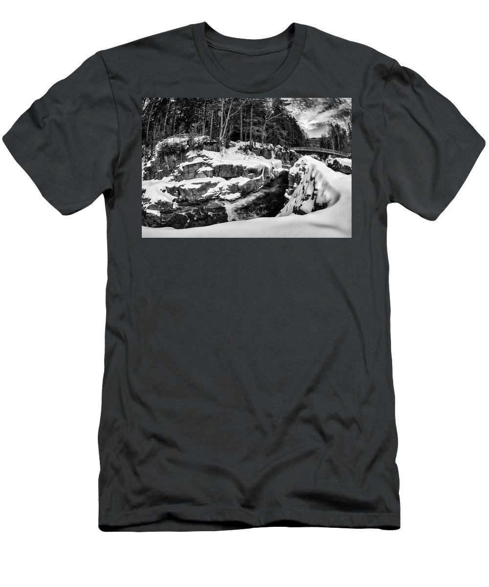 Rocky Gorge Nh Men's T-Shirt (Athletic Fit) featuring the photograph Rocky Gorge Foot Bridge N H by Michael Hubley
