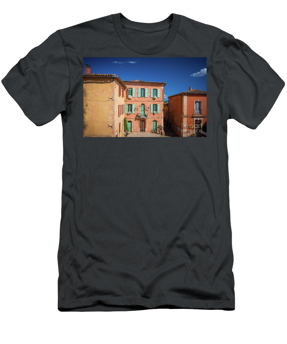 Europa Men's T-Shirt (Athletic Fit) featuring the photograph Roussilon Town Square by Inge Johnsson