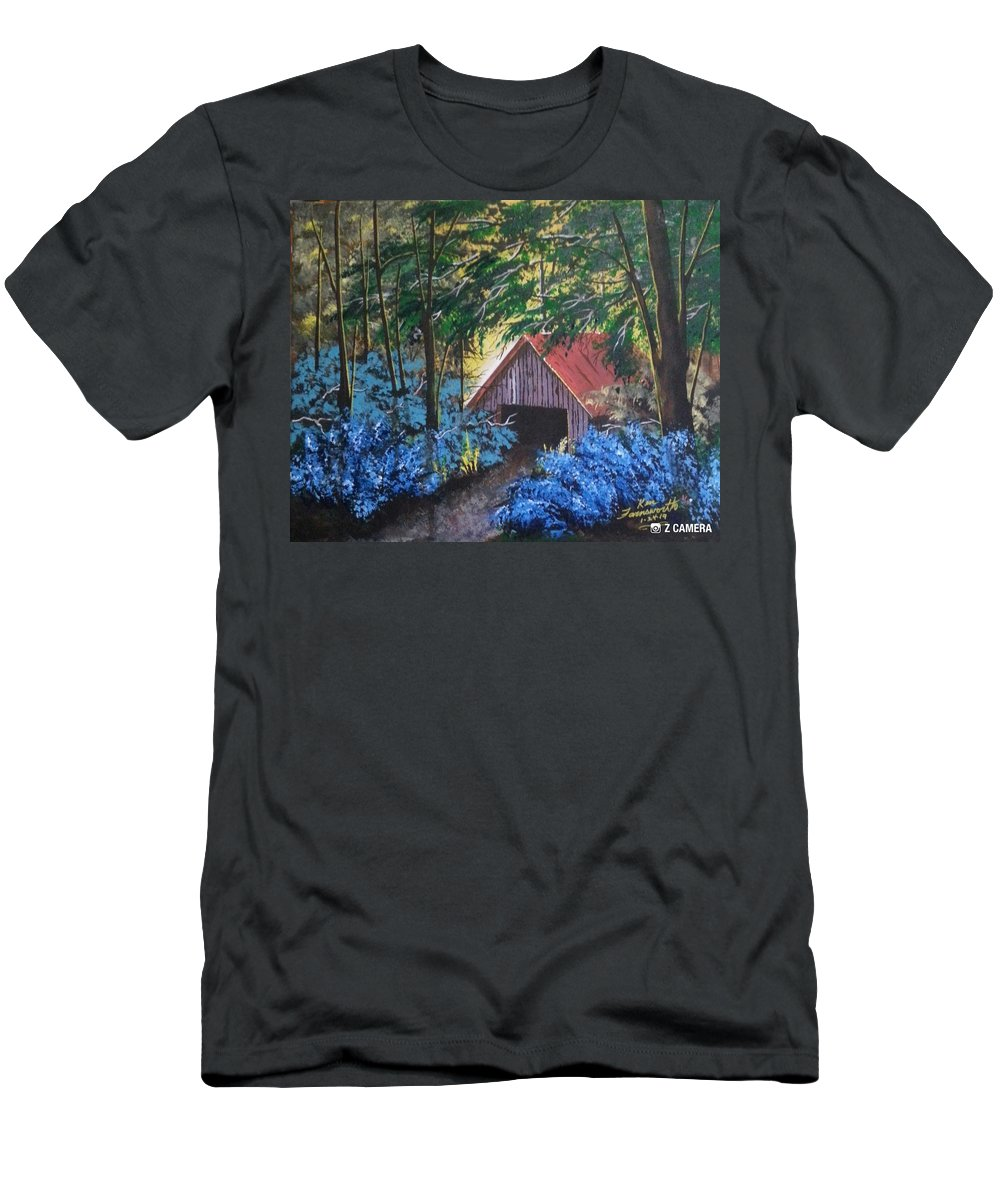 Landscape Men's T-Shirt (Athletic Fit) featuring the painting Rustic Barn by Ken Farnsworth