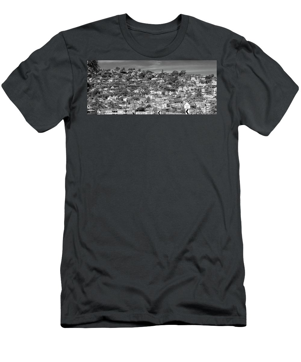 Sausalito Men's T-Shirt (Athletic Fit) featuring the photograph Sausalito California Housescaping Bw by Betsy Knapp