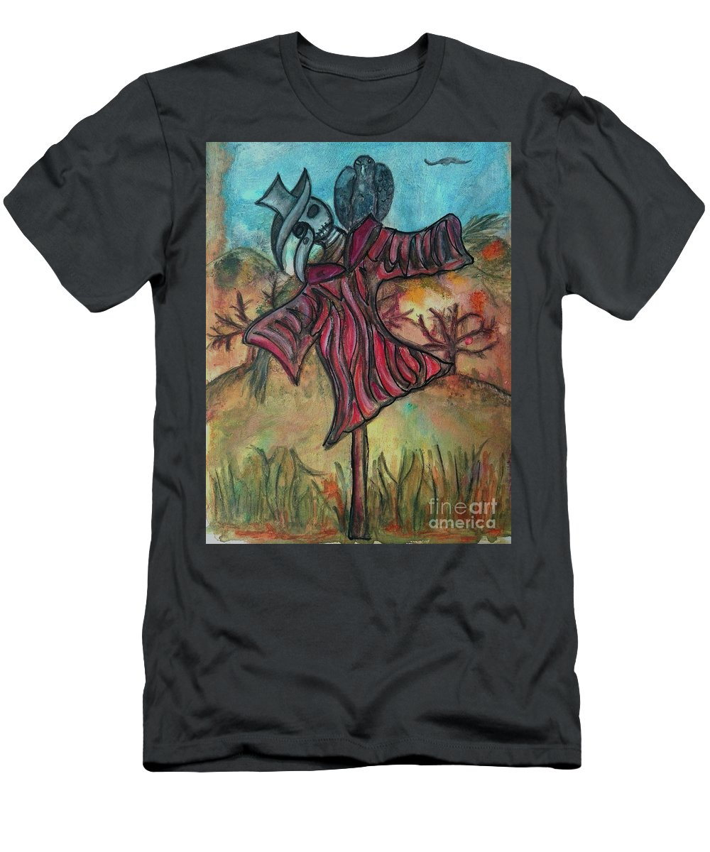 Scarecrow Men's T-Shirt (Athletic Fit) featuring the drawing Scarecrow by Mimulux patricia No