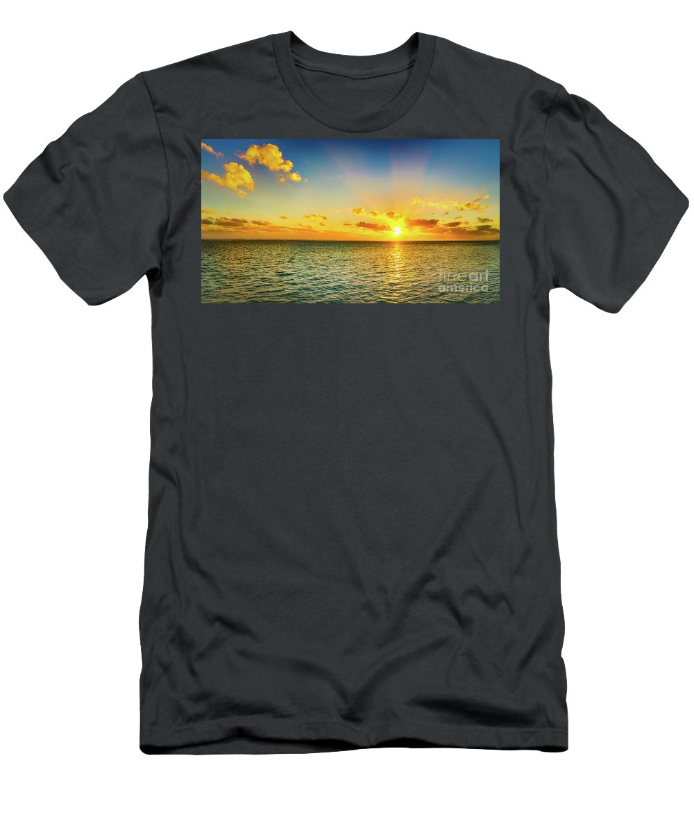 Panorama Men's T-Shirt (Athletic Fit) featuring the photograph Seascape At Sunset. Panorama by MotHaiBaPhoto Prints