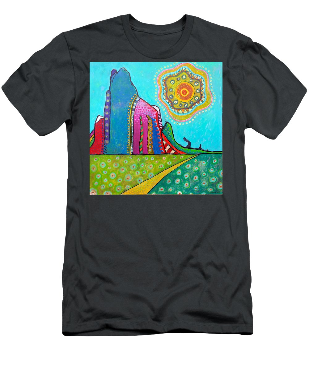 Shiprock Men's T-Shirt (Athletic Fit) featuring the painting Shiprock by Howard Weliver
