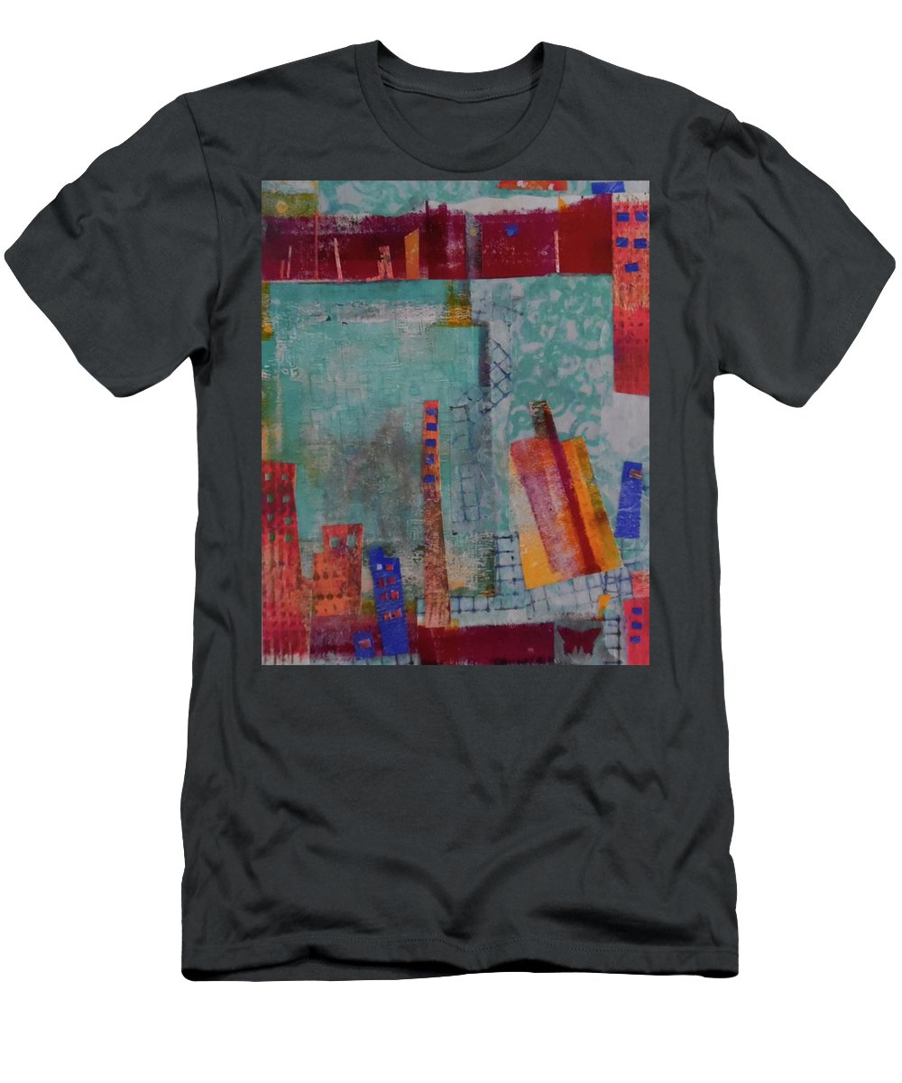 Collage Men's T-Shirt (Athletic Fit) featuring the mixed media Skyline by ILona Halderman