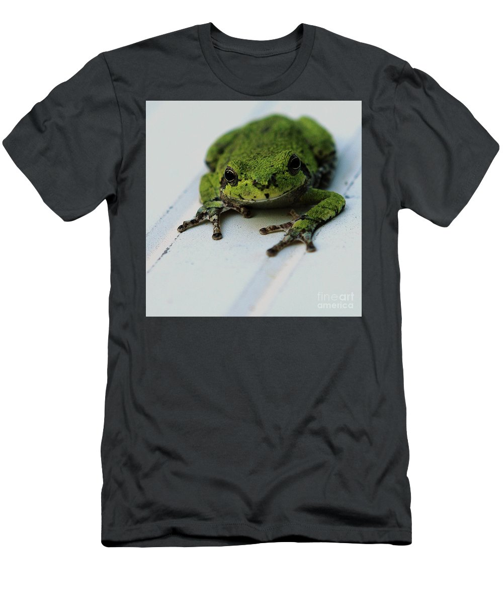 Frog Men's T-Shirt (Athletic Fit) featuring the photograph Smiling Frog by Martina Schneeberg-Chrisien