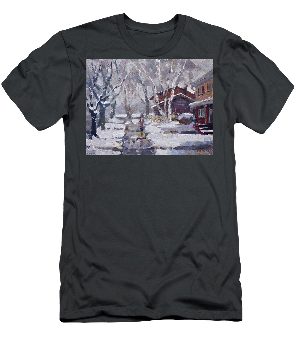 Snoe Men's T-Shirt (Athletic Fit) featuring the painting Spring Snow by Ylli Haruni
