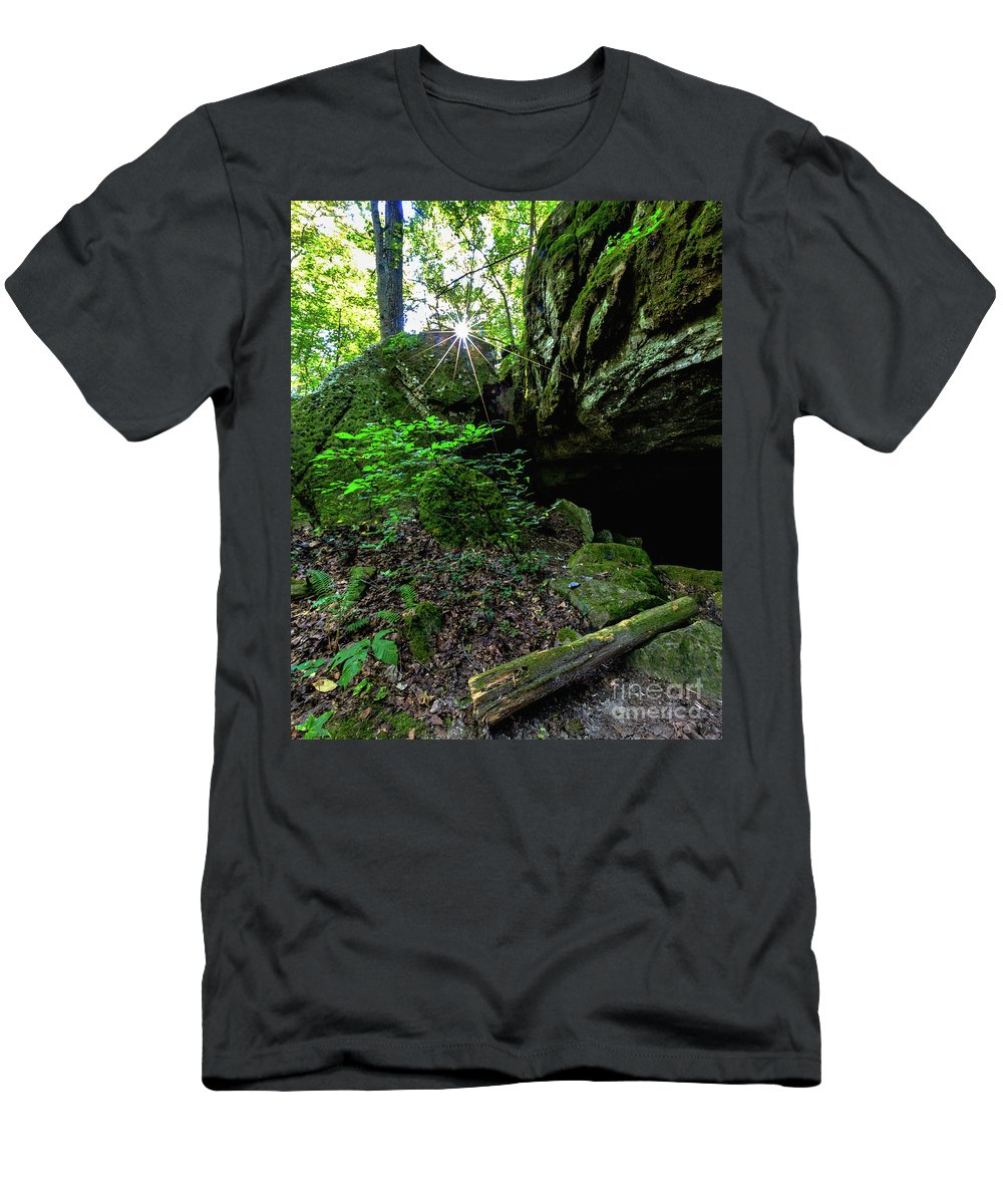 Trees Men's T-Shirt (Athletic Fit) featuring the photograph Starburst In The Woods by Terri Morris