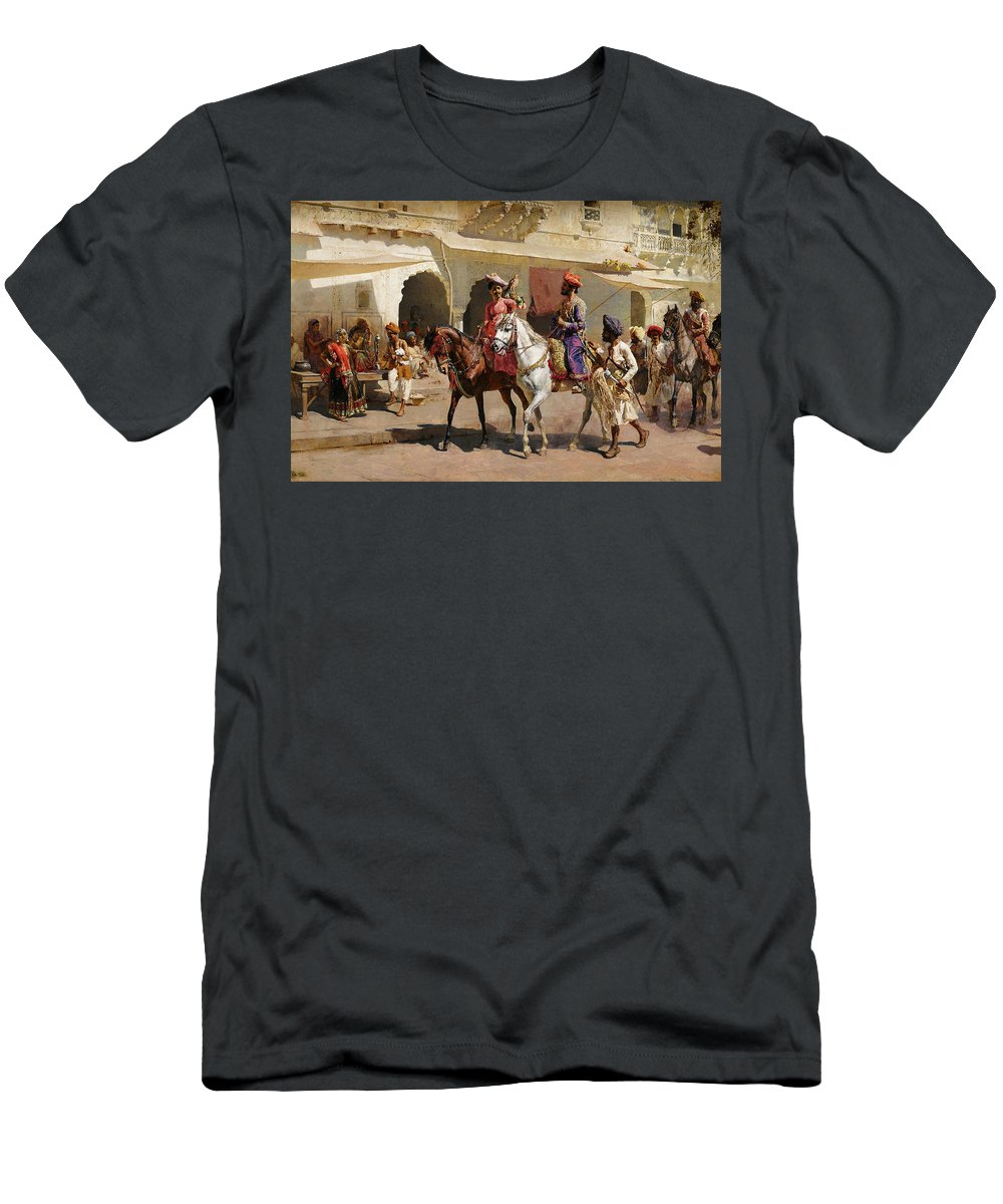 Start Men's T-Shirt (Athletic Fit) featuring the painting Start For The Hunt At Gwalior by Edwin Lord Weeks