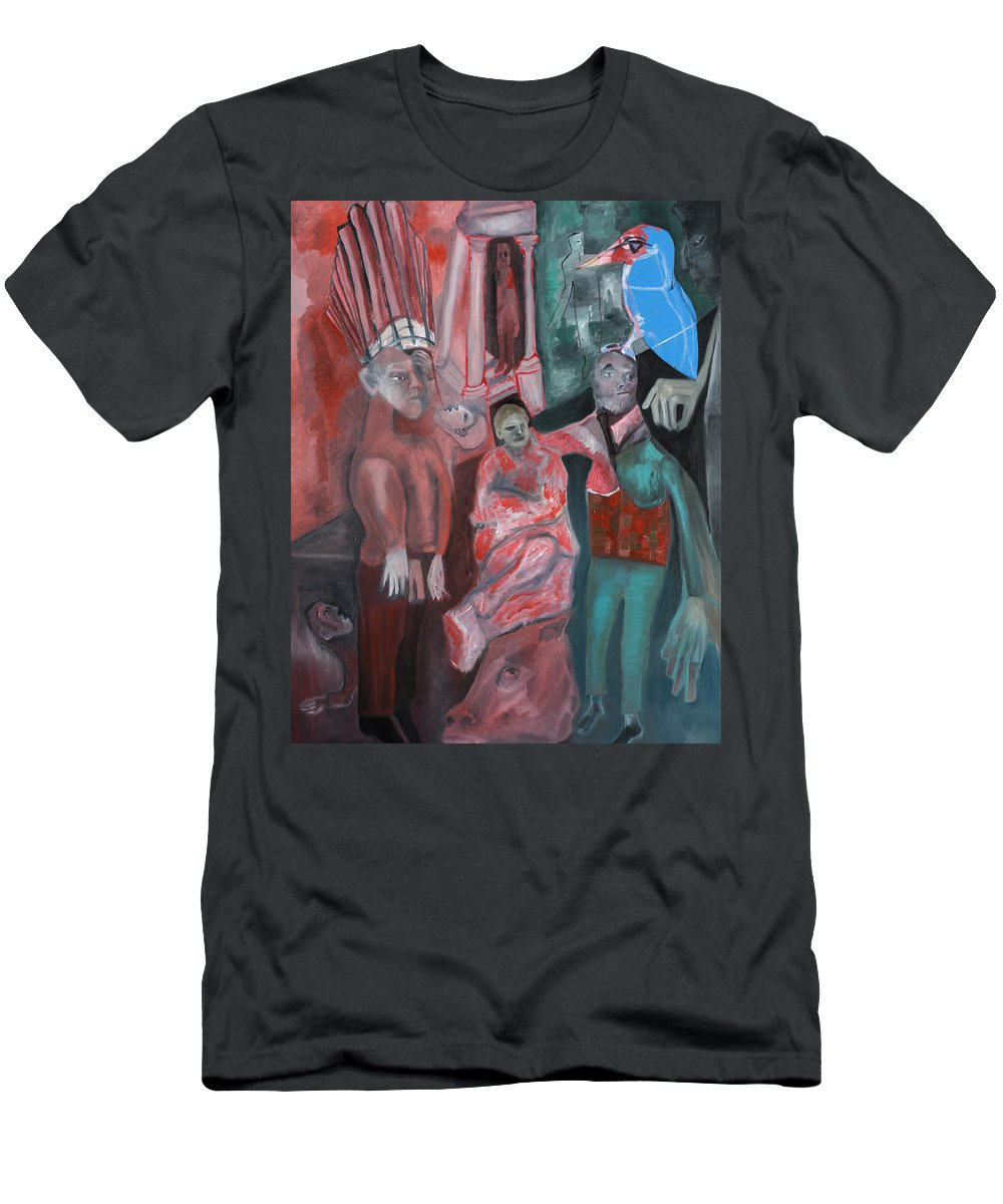 Pink Men's T-Shirt (Athletic Fit) featuring the painting Street Crowd by Artist Dot