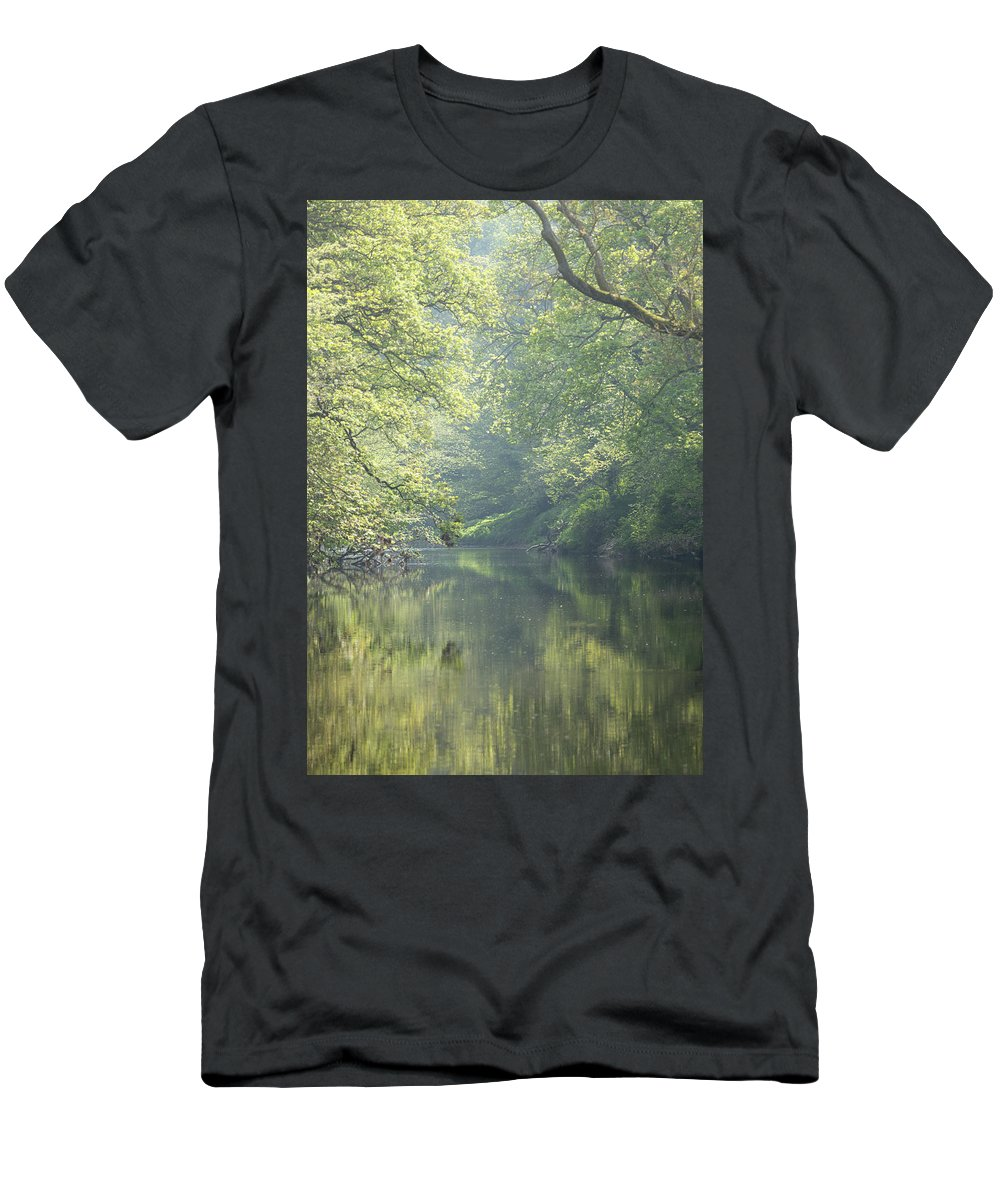 Landscape Men's T-Shirt (Athletic Fit) featuring the photograph Summer Time River And Trees by Anita Nicholson