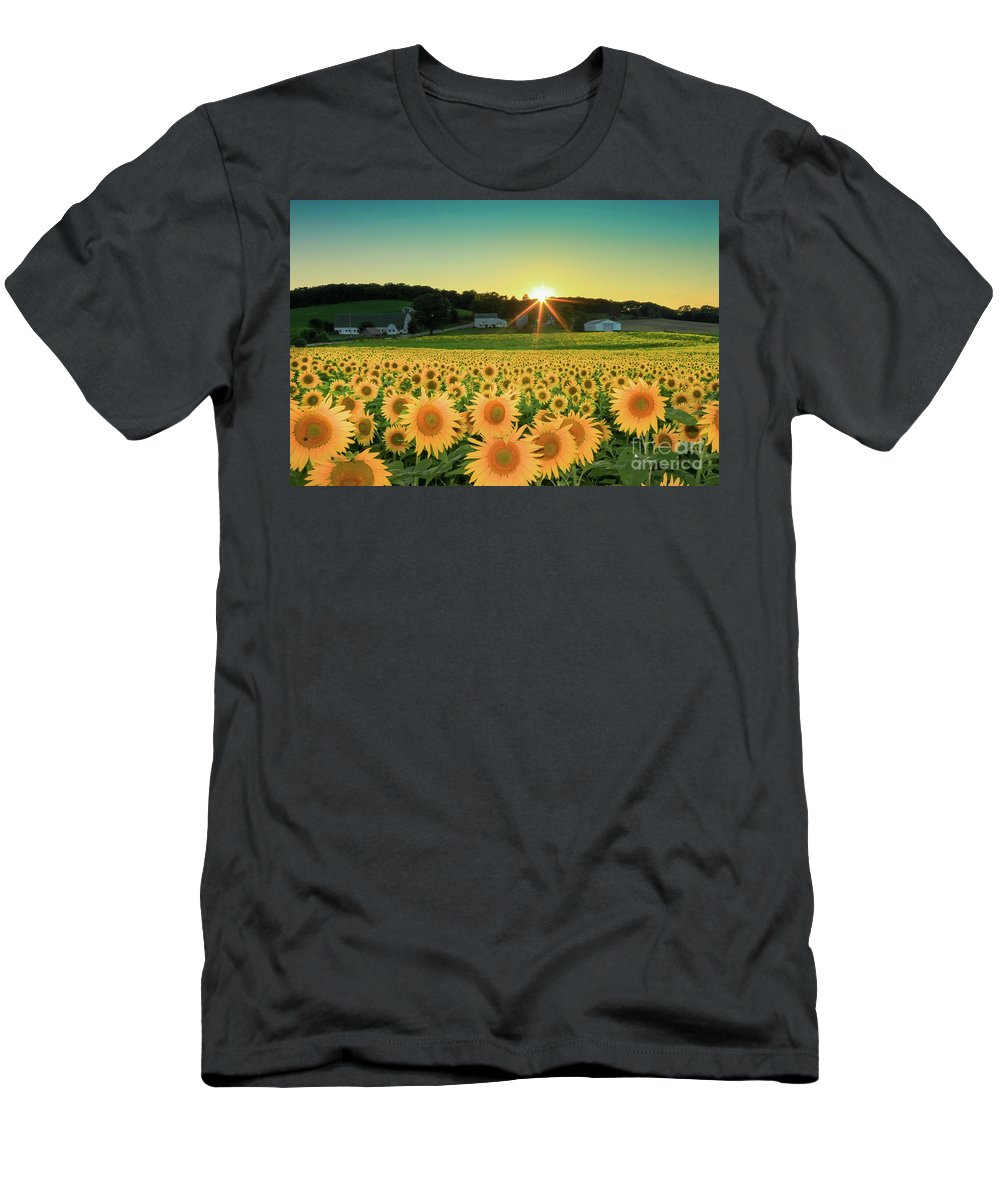 Sunflower Men's T-Shirt (Athletic Fit) featuring the photograph Sunflower Sunset by Martina Schneeberg-Chrisien