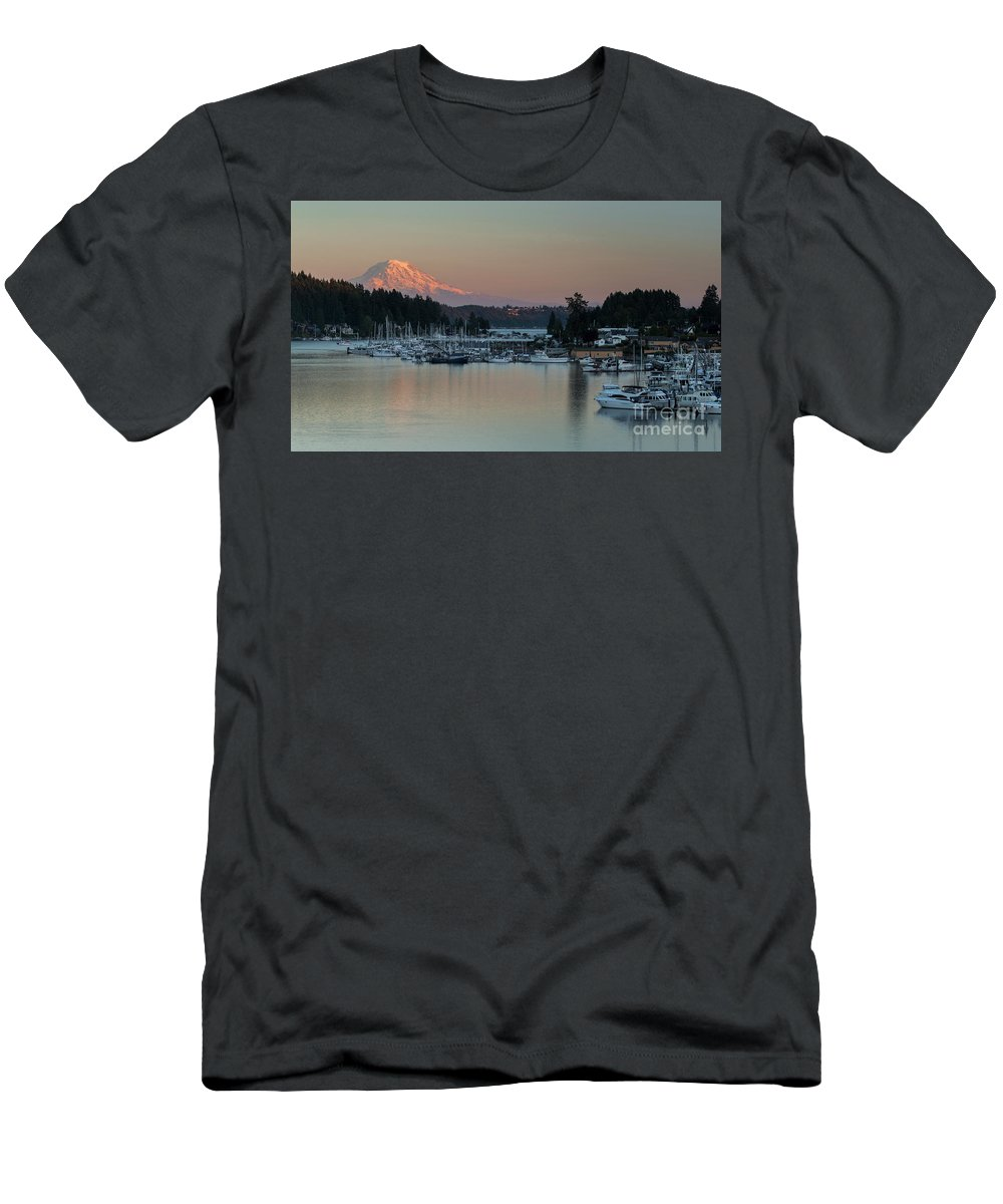 Sunset At Gig Harbor Marina With Mount Rainier In The Background Men's T-Shirt (Athletic Fit) featuring the photograph Sunset At Gig Harbor Marina With Mount Rainier In The Background by Yefim Bam