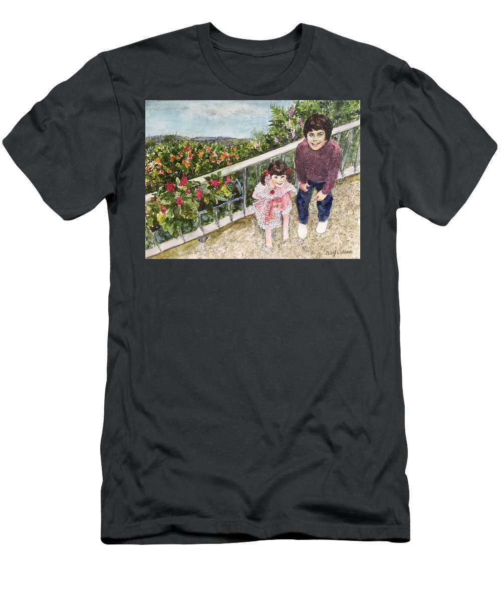 Belgium Men's T-Shirt (Athletic Fit) featuring the painting The Childrens Garden by Cheryl Wallace