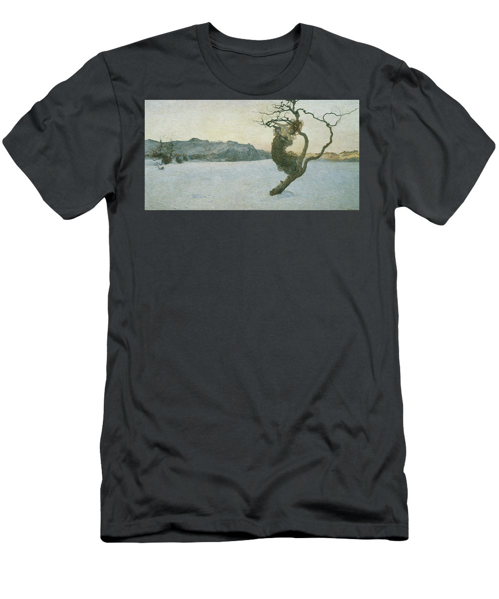 Giovanni Segantini Men's T-Shirt (Athletic Fit) featuring the painting The Evil Mothers, 1894 by Giovanni Segantini