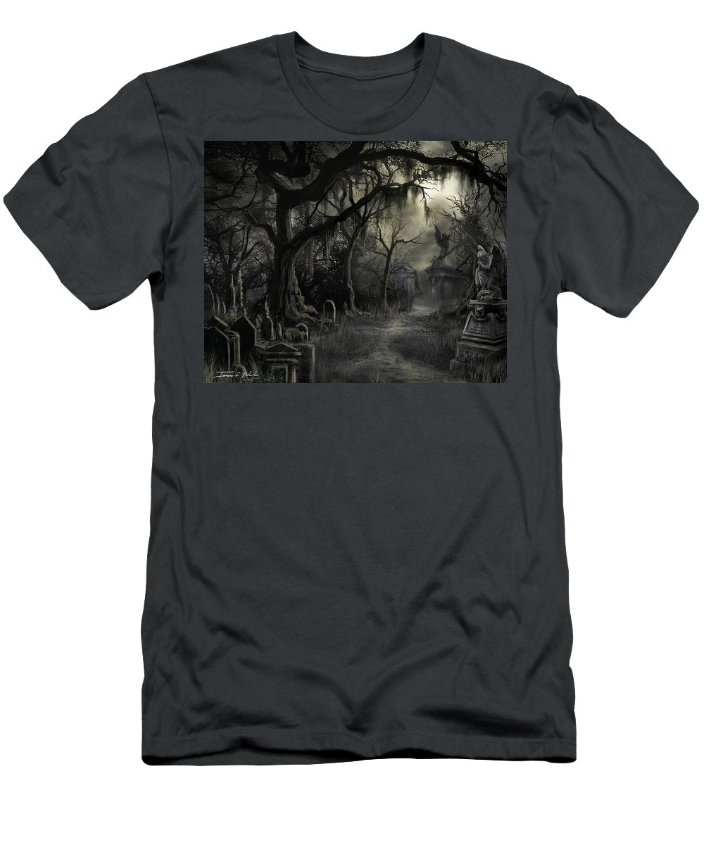 Cemetery T-Shirt featuring the painting The Lost Cemetery by James Christopher Hill