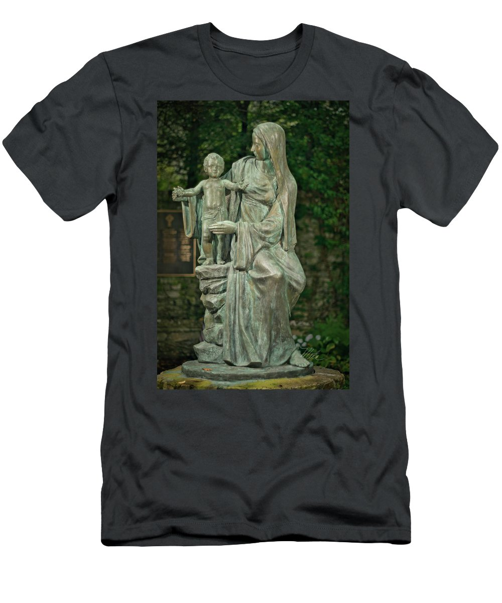 The Offering Men's T-Shirt (Athletic Fit) featuring the photograph The Offering Statue by Meta Gatschenberger
