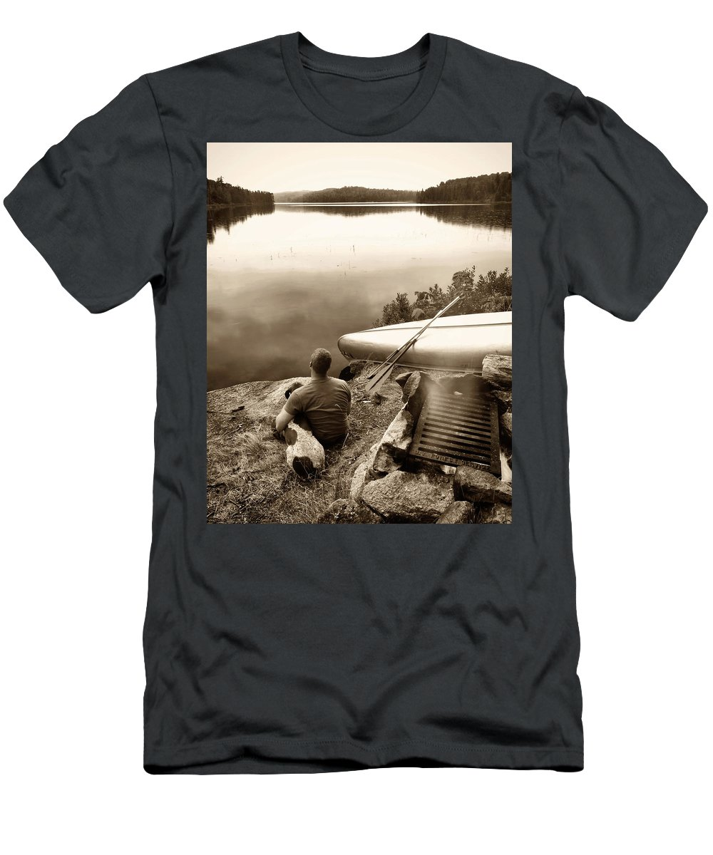 Boundary Waters Men's T-Shirt (Athletic Fit) featuring the photograph The World At Peace by Jayson Tuntland