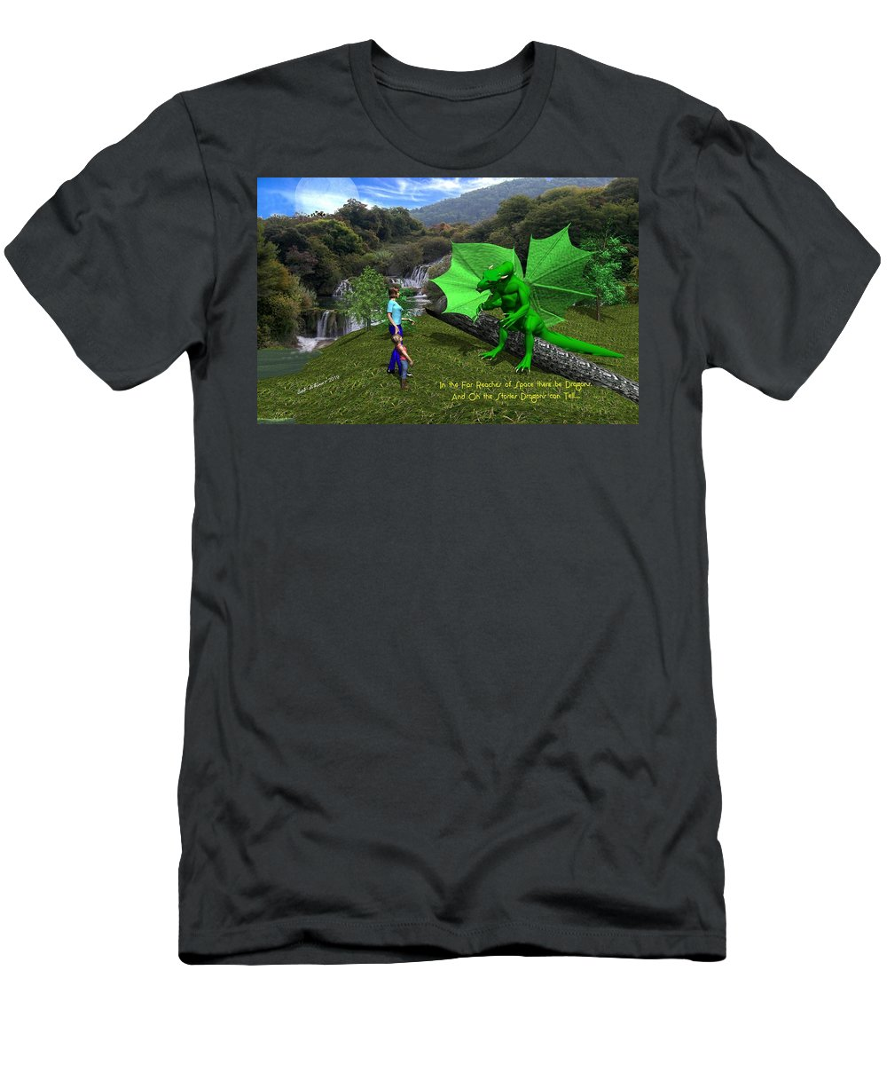 T-Shirt featuring the digital art There Be Dragons by Bob Shimer