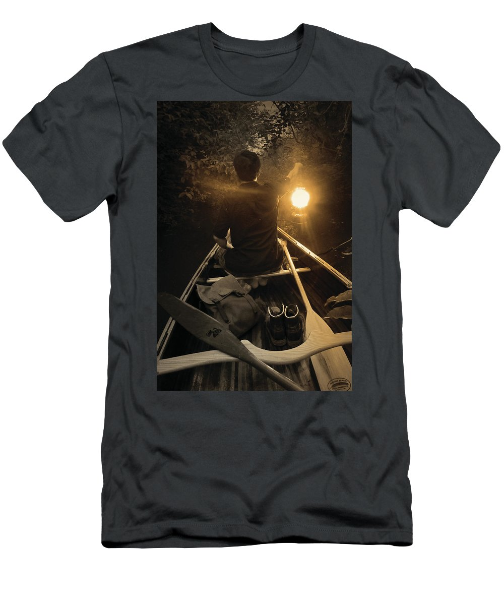 Ceder Strip Canoe Men's T-Shirt (Athletic Fit) featuring the photograph Through The Darkest Nights by Jayson Tuntland