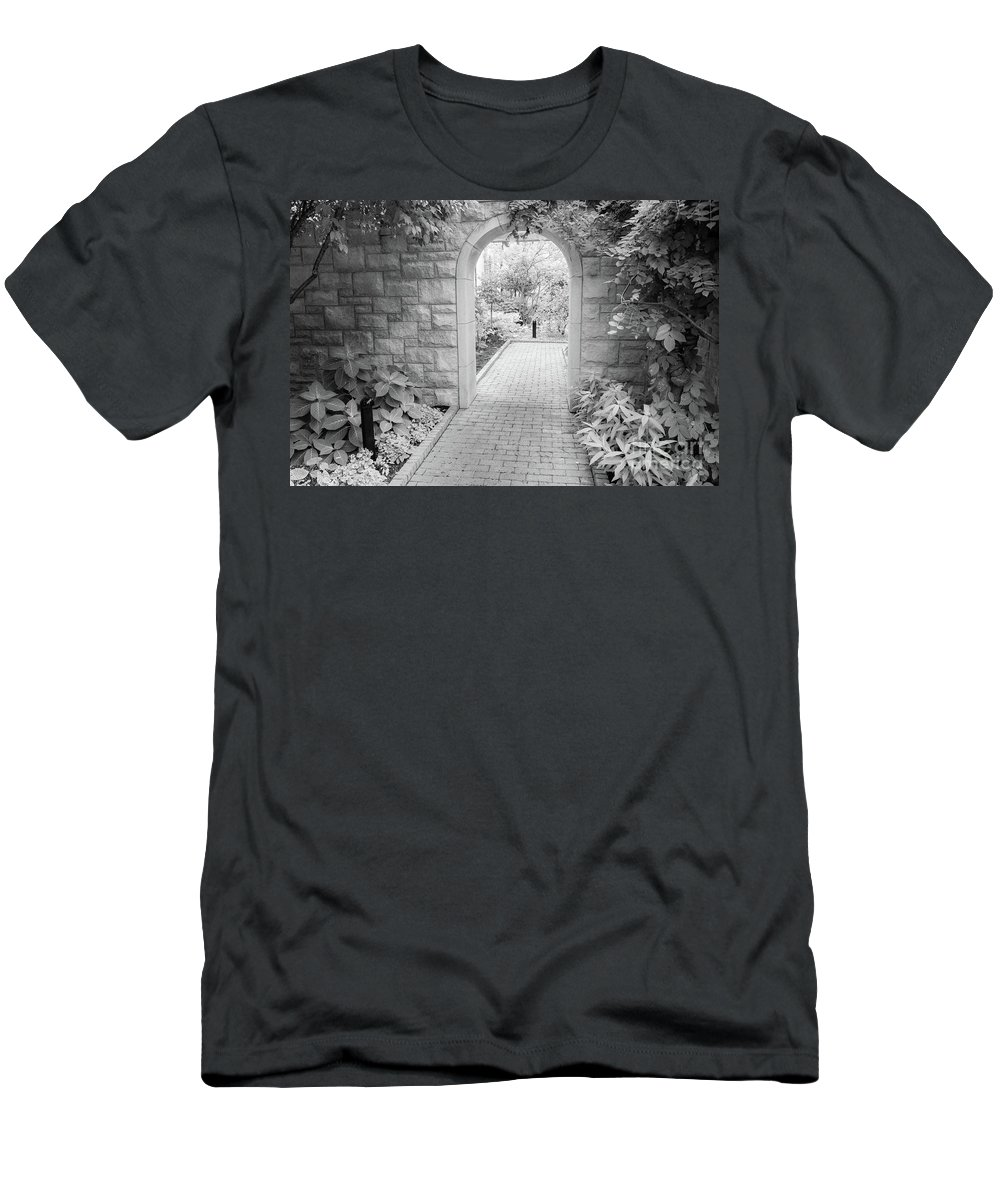 Black And White Photographs Men's T-Shirt (Athletic Fit) featuring the photograph Through The Garden Gate by Terri Morris