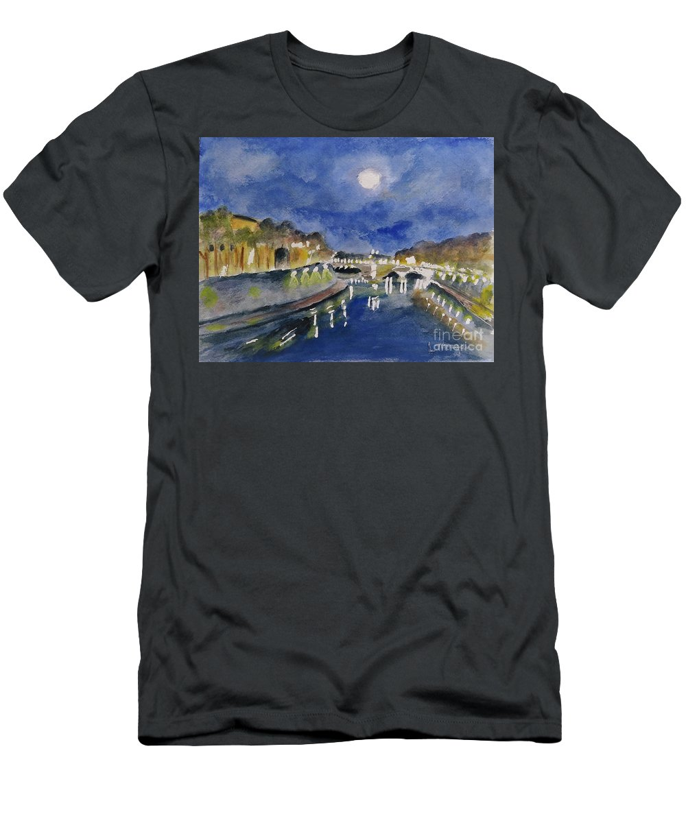 Tiber Men's T-Shirt (Athletic Fit) featuring the painting Tiber River At Night by Laurie Morgan