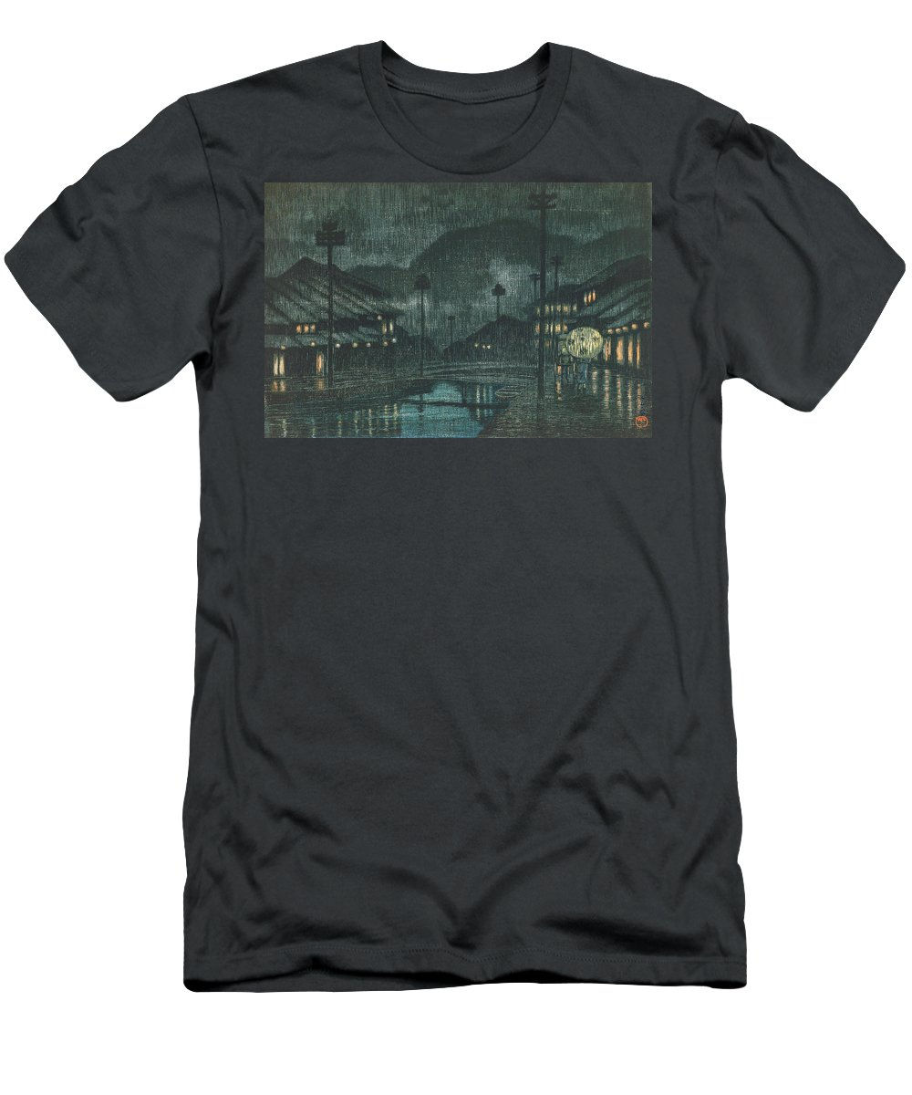 Kawase Hasui T-Shirt featuring the painting Travel souvenir third collection, Tajima, Kinosaki Spa - Digital Remastered Edition by Kawase Hasui