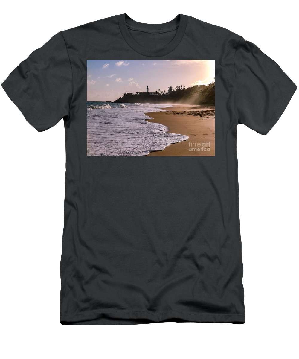 Ocean Men's T-Shirt (Athletic Fit) featuring the photograph Tuna Punta Lighthouse And Beach In Puerto Rico by G Matthew Laughton