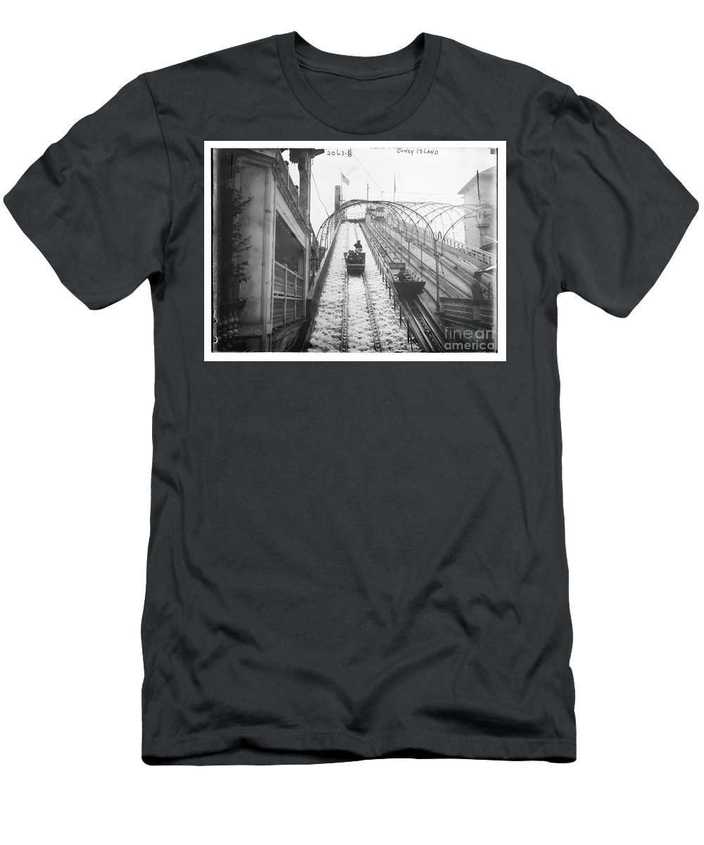 Coney Island Men's T-Shirt (Athletic Fit) featuring the photograph Vintage Coney Island New York by Bain