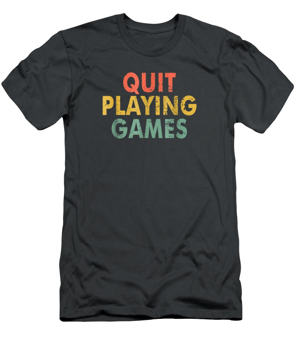 men's Novelty T-shirts Men's T-Shirt (Athletic Fit) featuring the digital art Vintage Quit Playing Games 90s Music Lover Tshirt Gift Tshirt by Unique Tees
