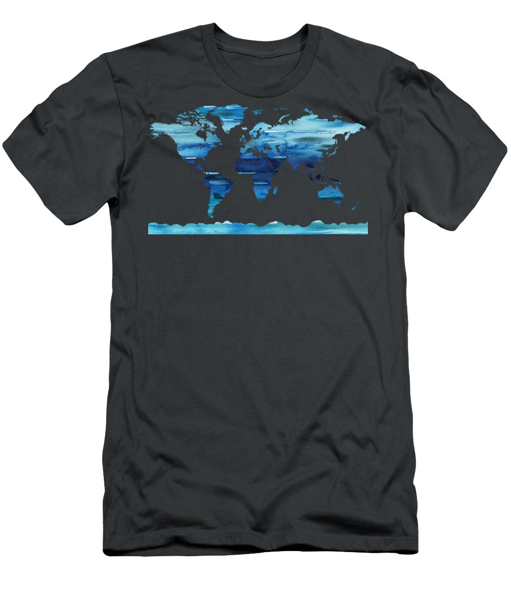 Blue T-Shirt featuring the painting Watercolor Silhouette World Map Colorful Png Xix by Irina Sztukowski