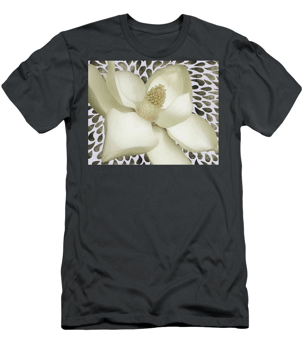 Magnolia Men's T-Shirt (Athletic Fit) featuring the photograph Watered Magnolia Fun by Banyan Ranch Studios