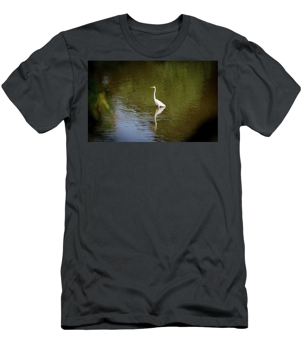 White Egret Men's T-Shirt (Athletic Fit) featuring the photograph White Egret In Water by Lora J Wilson